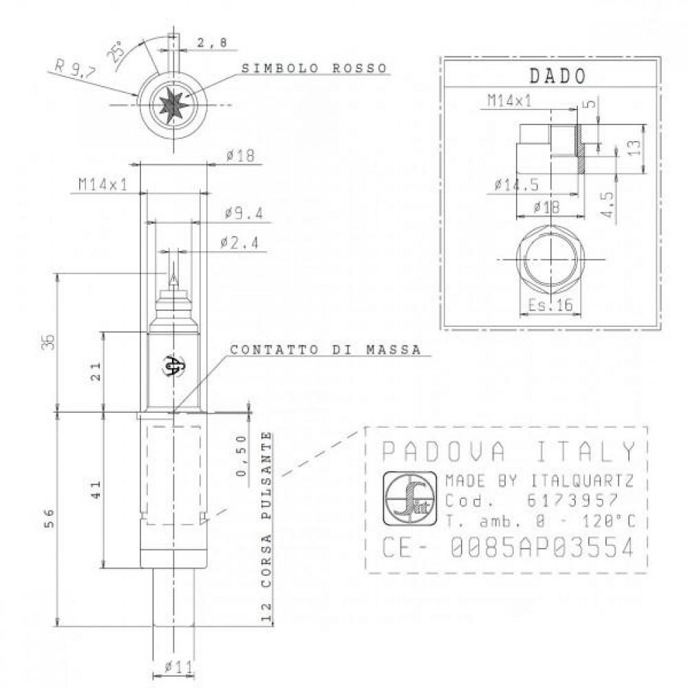 Пьезовоспламенитель без гайки крепления к суппорту для клапана Eurosit 630. (Пьезо с гайкой - под кодом 0.073.953)
