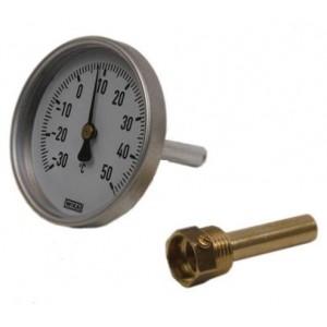 Термометр биметалический 0 - 120С ф 63мм G1/2, стакан под термобалон - 40мм