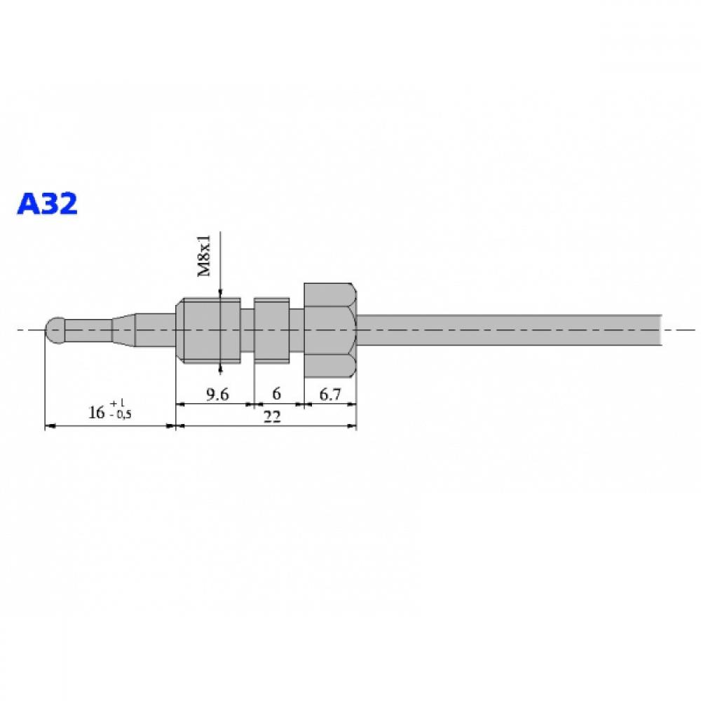 Термопара оголовок - А32 М8х1 L=600
